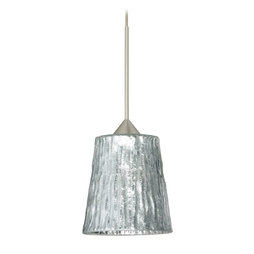 Besa Lighting Besa Lighting Nico Satin Nickel LED Mini-Pendant Light with Fluted Shade 1XT-5125SF-LED-SN