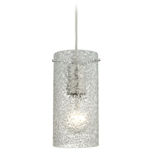 Elk Lighting Elk Lighting Ice Fragments Satin Nickel Mini-Pendant Light with Cylindrical Shade 10242/1CL