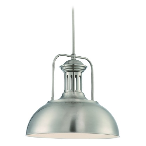 Lite Source Lighting Lite Source Polished Steel Pendant Light with Bowl / Dome Shade LS-19922PS
