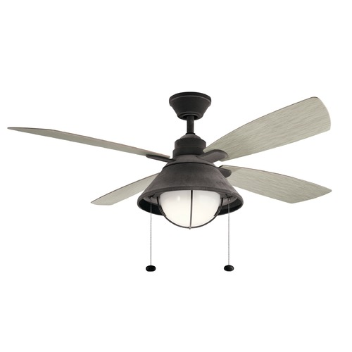 Kichler Lighting 52-Inch 4 Blade LED Ceiling Fan with Light Weathered Zinc by Kichler Lighting 310181WZC