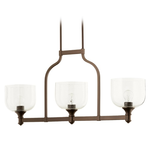 Quorum Lighting Quorum Lighting Richmond Oiled Bronze Island Light with Bowl / Dome Shade 6511-3-186