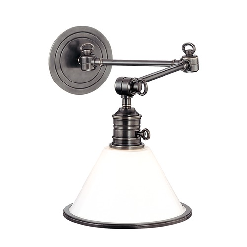 Hudson Valley Lighting Swing Arm Lamp with White Glass in Antique Nickel Finish 8332-AN
