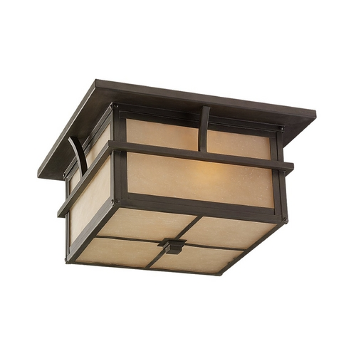 Sea Gull Lighting Close To Ceiling Light with Amber Glass in Statuary Bronze Finish 78880BLE-51
