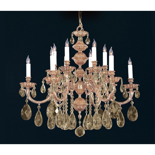 Crystorama Lighting Crystal Chandelier in Olde Brass Finish 2512-OB-GT-MWP