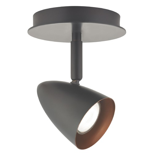Design Classics Lighting LED Semi-Flush Adjustable Monopoint Light - Bronze 1921-30/ LED GU10