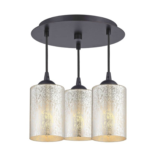 Design Classics Lighting 3-Light Semi-Flush Ceiling Light with Mercury Cylinder Glass - Bronze Finish 579-220 GL1039C