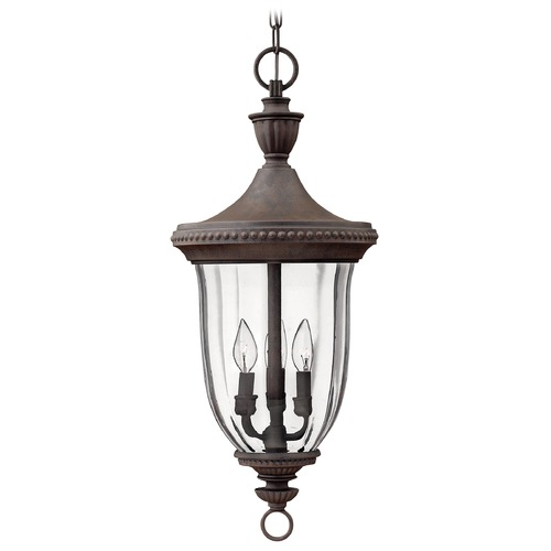 Hinkley Lighting Outdoor Hanging Light with Clear Glass in Midnight Bronze Finish 1242MN