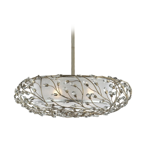 Elk Lighting Modern Drum Pendant Light with White Shade in Aged Silver Finish 16012/3