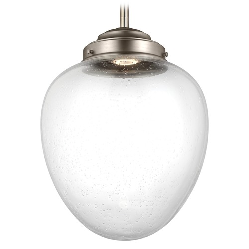 Feiss Lighting Feiss Lighting Alcott Satin Nickel LED Pendant Light with Oval Shade P1401SN-LED