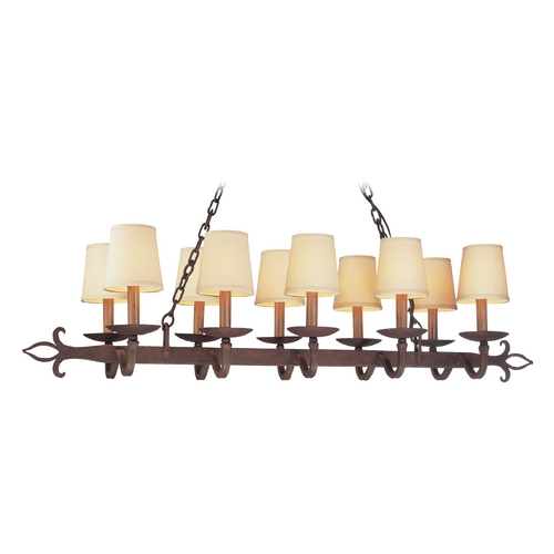 Troy Lighting Island Light with Beige / Cream Shades in Burnt Sienna Finish F2718