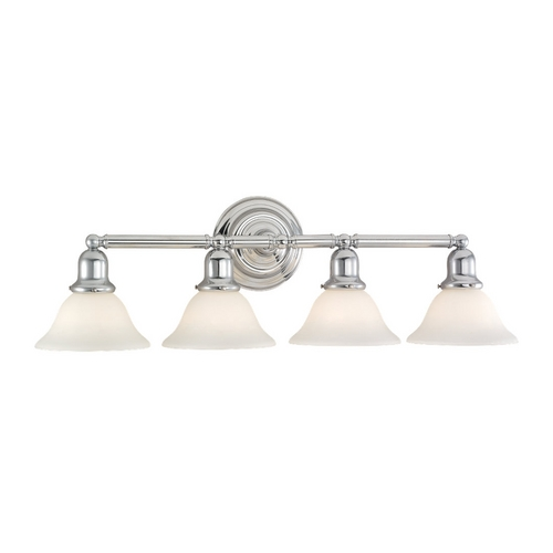 Sea Gull Lighting Bathroom Light with White Glass in Chrome Finish 44063-05