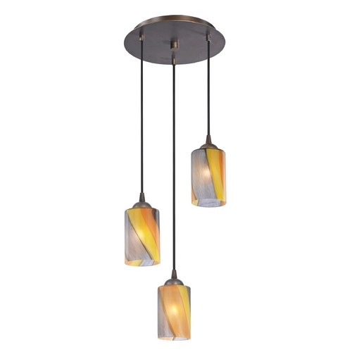 Design Classics Lighting Modern Multi-Light Pendant Light with Art Glass and 3-Lights 583-220 GL1015C