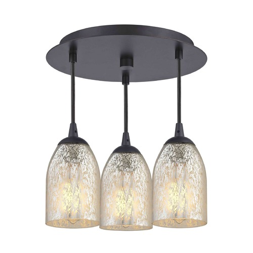 Design Classics Lighting 3-Light Semi-Flush Ceiling Light with Mercury Dome Glass - Bronze Finish 579-220 GL1039D