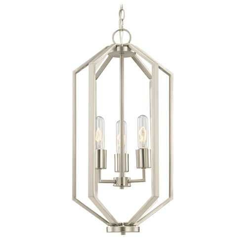 Dolan Designs Lighting Hexagon 3-Light Chandelier - Satin Nickel Finish 1141-09
