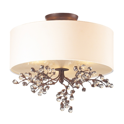 Elk Lighting Semi-Flushmount Light with White Shade in Antique Darkwood Finish 20089/3