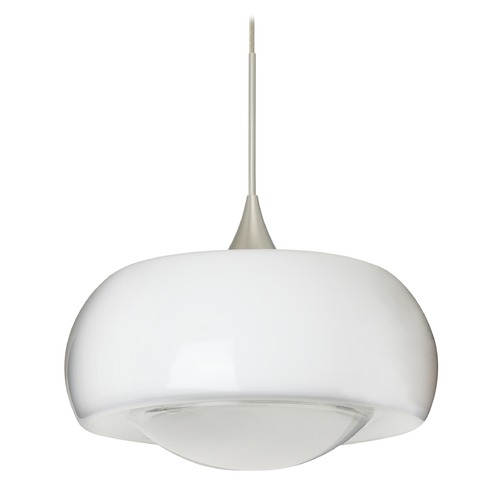 Besa Lighting Besa Lighting Focus Frosted Glass Satin Nickel Mini-Pendant Light 1XT-2633FR-SN