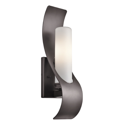 Kichler Lighting Kichler Modern Bronze Outdoor Wall Light with White Glass 49149AZ