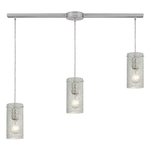 Elk Lighting Elk Lighting Ice Fragments Satin Nickel Multi-Light Pendant with Cylindrical Shade 10242/3L-CL