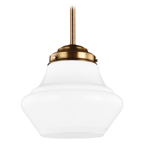 Feiss Lighting LED Schoolhouse Pendant Light Opal Glass Brass 12-Inch Wide by Feiss Lighting P1406AGB-LED