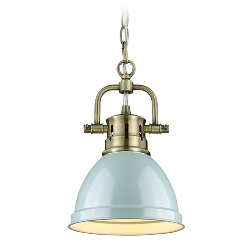 Golden Lighting Golden Lighting Duncan Ab Aged Brass Mini-Pendant Light with Bowl / Dome Shade 3602-M1L AB-SF