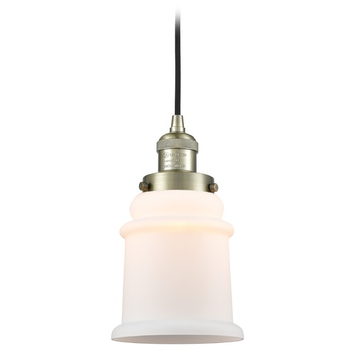 Innovations Lighting Innovations Lighting Canton Antique Brass Mini-Pendant Light with Bell Shade 201C-AB-G181