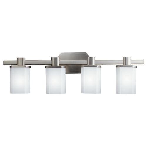 Kichler Lighting Kichler Brushed Nickel Modern Bathroom Light with White Glass 5054NI