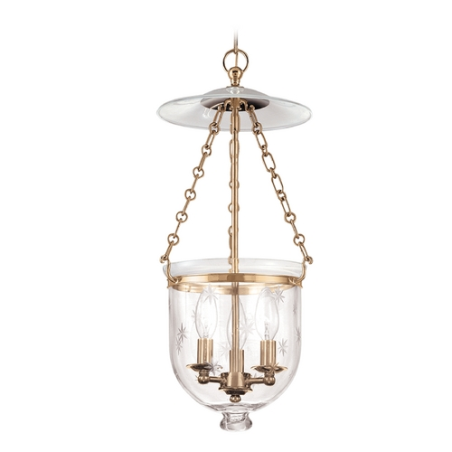 Hudson Valley Lighting Pendant Light with Clear Glass in Aged Brass Finish 252-AGB-C3