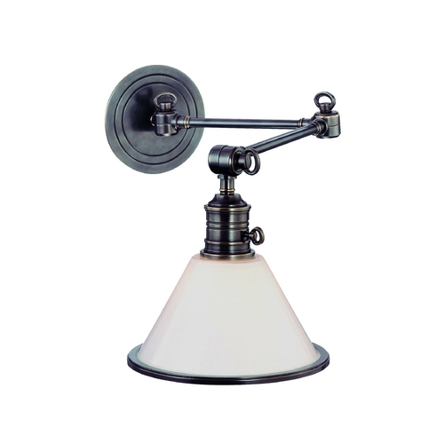 Hudson Valley Lighting Swing Arm Lamp with White Glass in Polished Nickel Finish 8332-PN