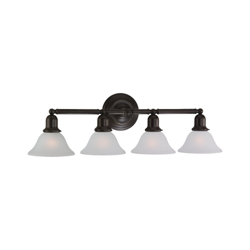 Sea Gull Lighting Bathroom Light with White Glass in Heirloom Bronze Finish 44063-782
