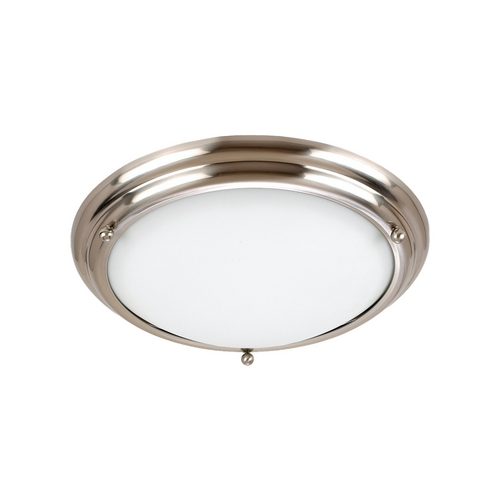 Sea Gull Lighting Flushmount Light with White Glass in Brushed Stainless Finish 79097BLE-98