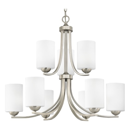 Design Classics Lighting Nine Light Chandelier with Two Tiers and Satin White Cylinder Glass 586-09 GL1028C