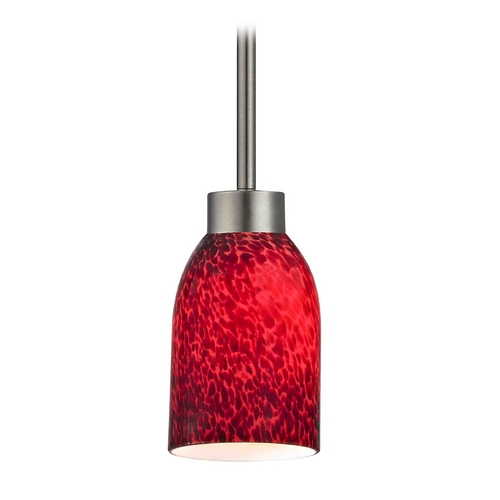 Design Classics Lighting Modern Mini-Pendant Light with Red Glass 1123-1-09 GL1018D