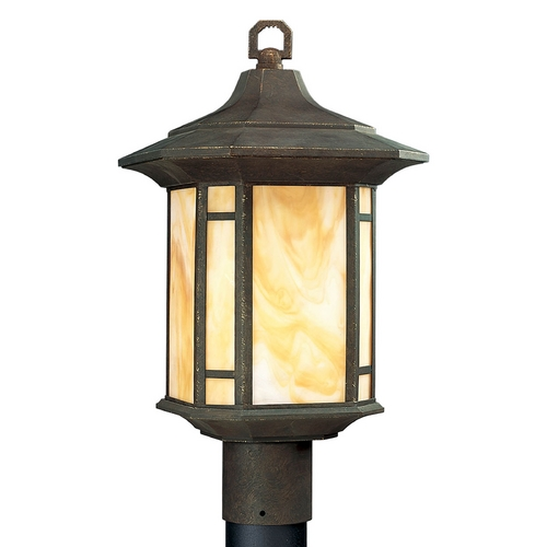 Progress Lighting Progress Post Light with Art Glass in Weathered Bronze Finish P5428-46