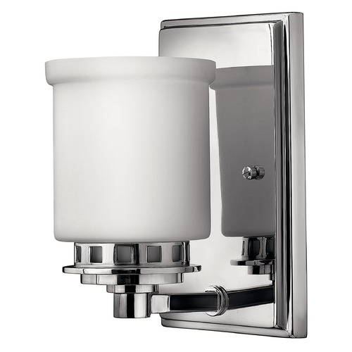 Hinkley Lighting Sconce with White Glass in Chrome Finish 5190CM