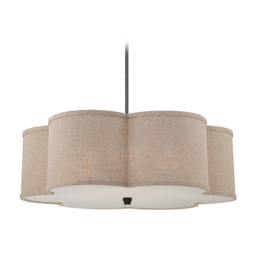 Quoizel Lighting Modern Drum Pendant Light in Mottled Cocoa Finish CRA2826MC