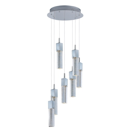 ET2 Lighting Fizz Iii Polished Chrome LED Multi-Light Pendant with Rectangle Shade E22767-89PC