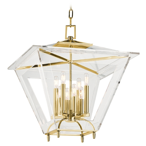 Hudson Valley Lighting Hudson Valley Lighting Andover Aged Brass Pendant Light with Square Shade 7424-AGB