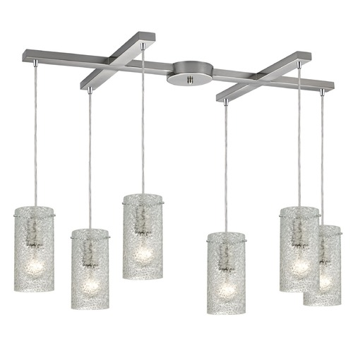 Elk Lighting Elk Lighting Ice Fragments Satin Nickel Multi-Light Pendant with Cylindrical Shade 10242/6CL