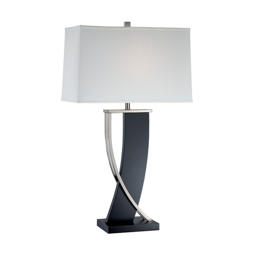 Lite Source Lighting Modern Table Lamp with White Shade in Polished Steel Finish LS-21788