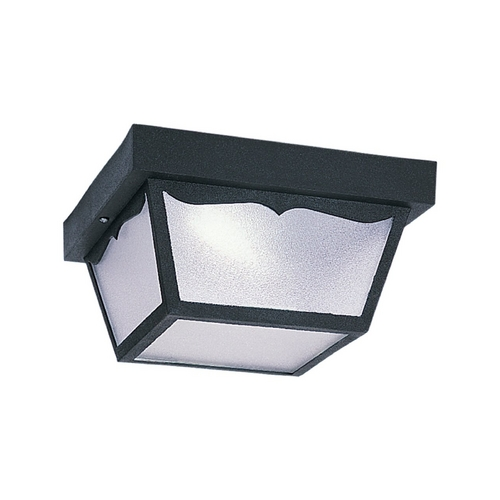 Sea Gull Lighting Close To Ceiling Light with White in Black Finish 79121BLE-12