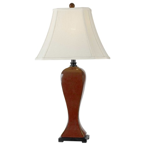 Kenroy Home Lighting Table Lamp with Beige / Cream Shade in Crimson Red Finish 32070CRD