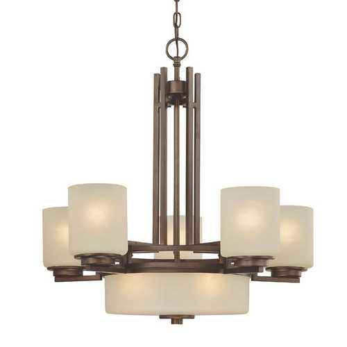 Dolan Designs Lighting 8-Light Chandelier with Five Arms and Center Downlight 2880-62