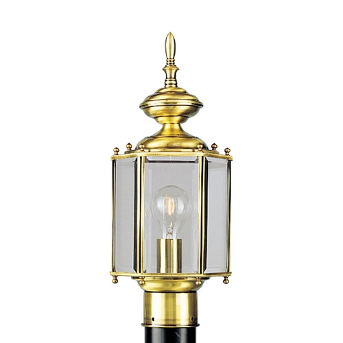 Progress Lighting Progress Post Light with Clear Glass in Polished Brass Finish P5430-10