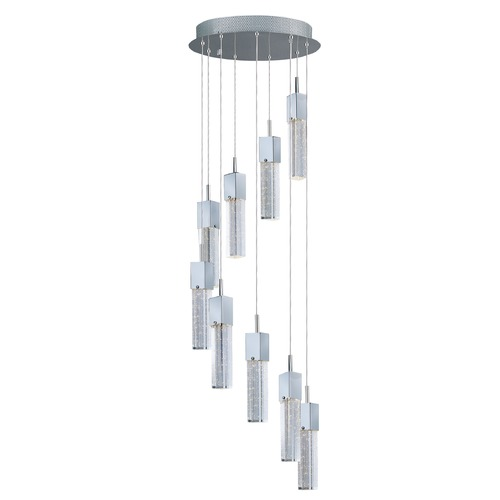 ET2 Lighting Fizz III Polished Chrome LED Multi-Light Pendant with Rectangle Shade E22769-89PC