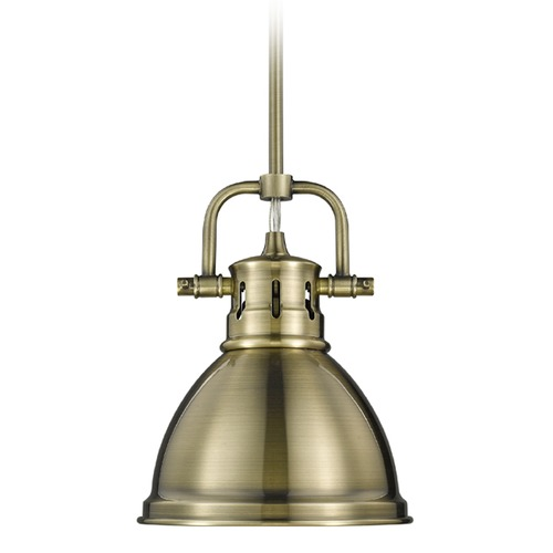 Golden Lighting Golden Lighting Duncan Ab Aged Brass Mini-Pendant Light with Bowl / Dome Shade 3604-M1L AB-AB