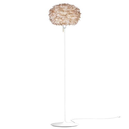 UMAGE White Floor Lamp with Light Brown Abstract Feather Shade 3006_4037
