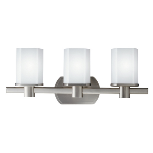 Kichler Lighting Kichler Brushed Nickel Modern Bathroom Light with White Glass 5053NI