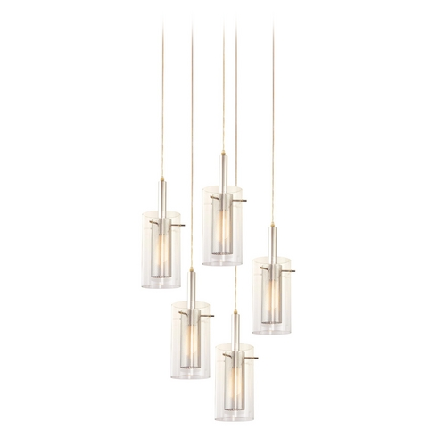 Sonneman Lighting Modern Multi-Light Pendant Light with Clear Glass and 5-Lights 4397.57