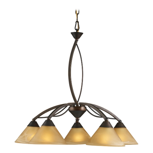 Elk Lighting Modern Chandelier with Beige / Cream Glass in Aged Bronze Finish 7646/5