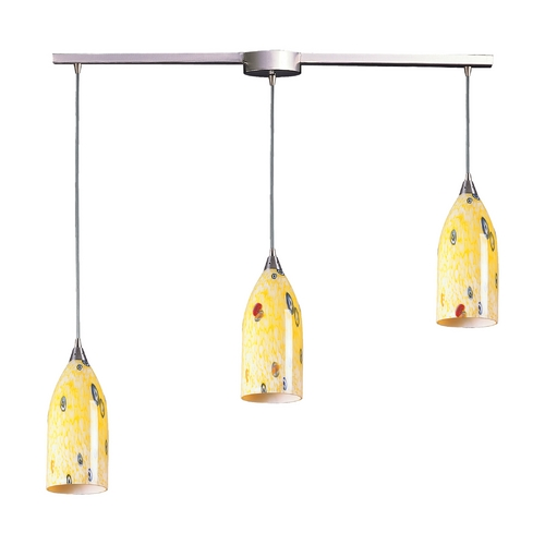 Elk Lighting Modern Multi-Light Pendant Light with Art Glass and 3-Lights 502-3L-YW